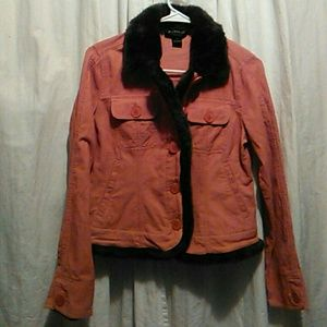 Peachy color liteweight jacket#fur trim